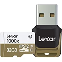 Lexar Professional 1000x microSDHC 32GB UHS-II/U3 (Up to 150MB/s Read) W/USB 3.0 Reader Flash Memory Card LSDMI32GCBNL1000R