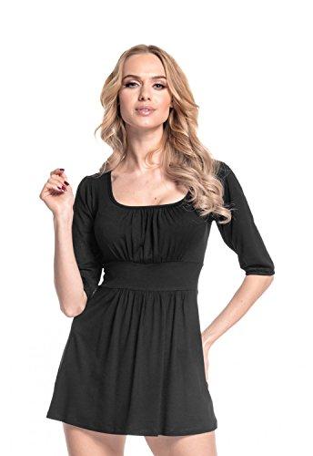 effet T Coupe flatteuse Femme fronc tunique Empire shirt top Noir Le Glamour 940 AYqwpzp