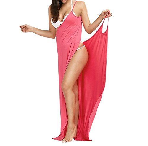 Minetom Mujer Verano Vestido Largo Atractivo Boho Partido V Profunda Cuello Sin Mangas Dobladillo Split de Noche Maxi Playa Sundress del Partido de Tarde Pink