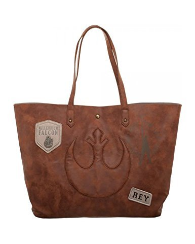 Star Wars Episode 8 Rebel with Patch & Metal Logos Jrs. Tote Bag]()
