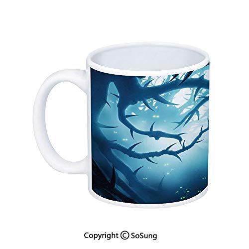 Mystic House Decor Coffee Mug,Animal with Burning Eyes in Dark Forest at Night Horror Halloween Illustration,Printed Ceramic Coffee Cup Water Tea Drinks Cup,Navy White -