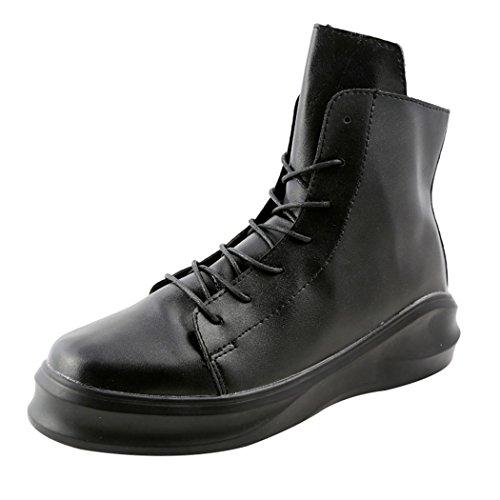 Desklets Mens Winter Fashionable Sneaker Warm Zipper and Lace-up Dunk High Shoes(7 D(M) US,Black)