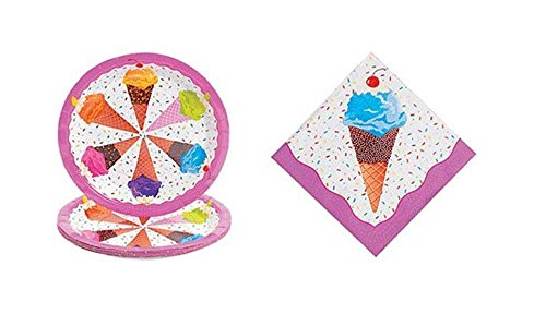 - Ice Cream Party Kit - Birthday Party Supplies Set Ice Cream Theme Dinner Plates and Napkins