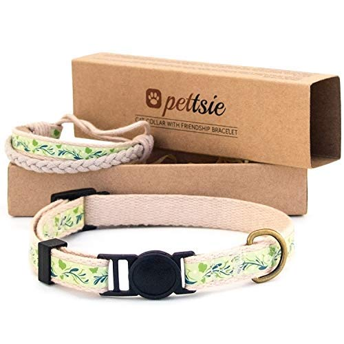 Pettsie Cat Collar Breakaway Safety and Friendship Bracelet for You, 100% Cotton for Extra Safety, D-Ring for Accessories, Comfortable Cotton, Adjustable 7.5-11.5 Inch (Green) ()