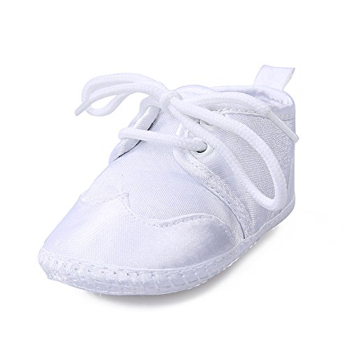 OOSAKU Boys White Lace Up Christening Baptism Dress Shoes (6-9 Months, White)