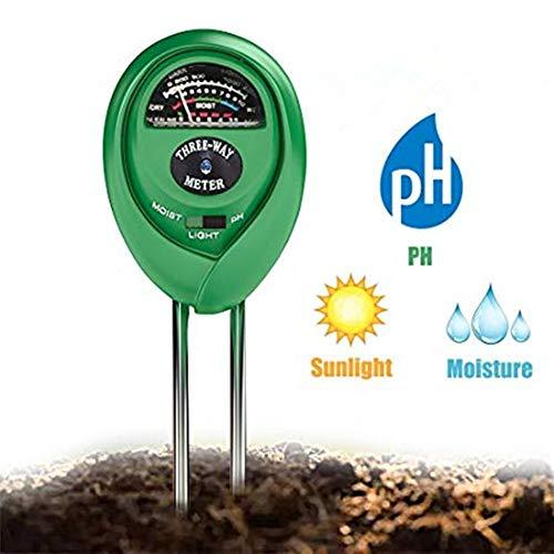 Soil PH Meter Soil Moisture Sensor 3-in-1 Soil Moisture/Light/pH Test Kit for Indoor/Outdoor Plants Care(No Battery ()