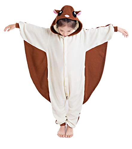NEWCOSPLAY Unisex Children Sloth and Flying Squirrel Pyjamas Halloween Kids Onesie Costume (125, Caffee Flying Squirrel) -