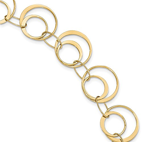 - 14k Yellow Gold Fancy Circle Link Bracelet