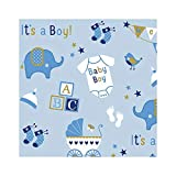 AMSCAN 180219 Baby Boy Elephant Jumbo Gift Wrap Value Pack | 6 Ct, Multicolor