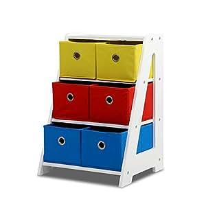 3-Tier 6 Bins Kids Toy Box Organiser Storage Rack Cabinet Wooden Bookcase Shelf