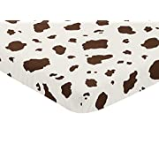 Sweet Jojo Designs Brown Cow Print Baby Fitted Mini Portable Crib Sheet for Western Wild West Collection
