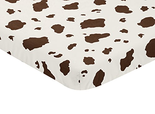 Sweet JoJo Designs Brown Cow Print Baby Fitted Mini Portable Crib Sheet for Western Wild West Collection -