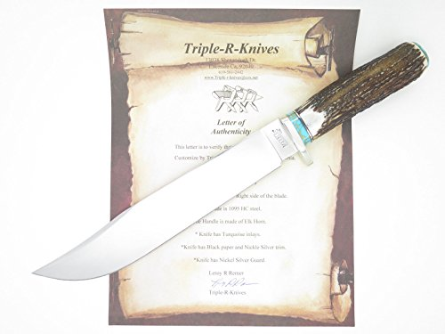 "Custom RRR Leroy Remer Marbles USA Trailmaker Elk Stag 10"" Fixed Blade Hunting Knife Limited Edition w/ Sheath"