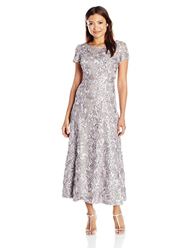 A-line Sequin - Alex Evenings Women's Petite Long a-Line Rosette Dress with Short Sleeves Sequin Detail, Dove, 14P