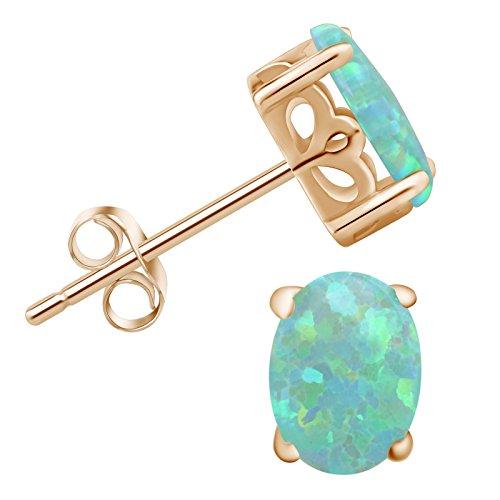 SilkRoad 18K Yellow Gold-plated 925 Sterling Silver Green Oval Opal Stud Earrings Gift for Women Daughter Graduation Season ()