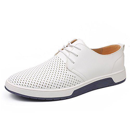 ZZHAP Men's Casual Oxford Shoes Breathable Flat Fashion Sneakers White US 12