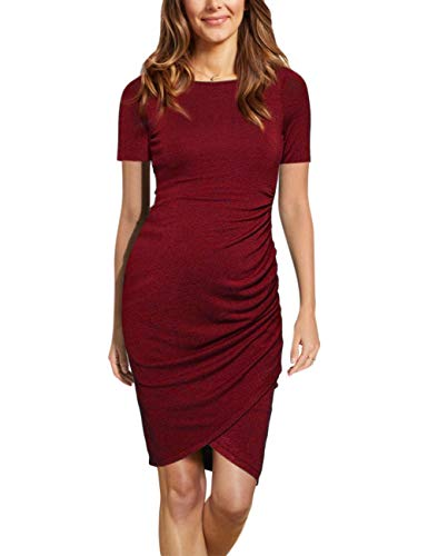 Coolmee Womens Maternity Dresses Casual Ruched Short Sleeve Irregular Bodycon Mini Dress for Women XL Burgundy-Short