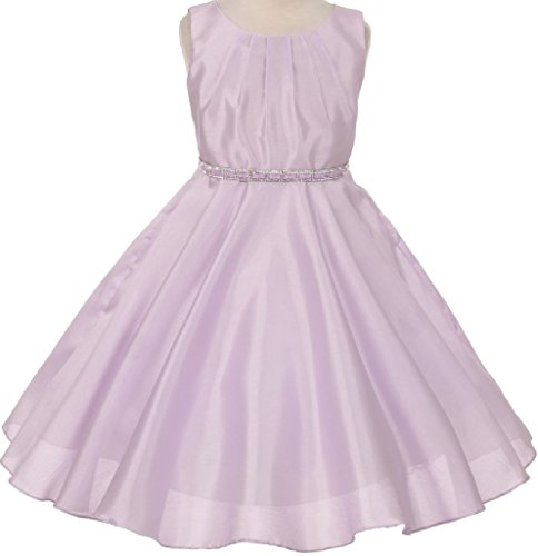 Silk Shantung Flower Girl Dresses - Big Girls' Shantung Silk Stone Belt Flowers Girls Dresses Lilac 12 (K63K85)
