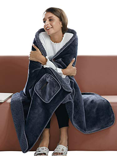 "BARGOOS Thick Wearable Blanket Warm Throw Wrap Shawls with Pockets Fleece Flannel Sherpa Plush for Women and Men Grey Large 79"" x 32"""