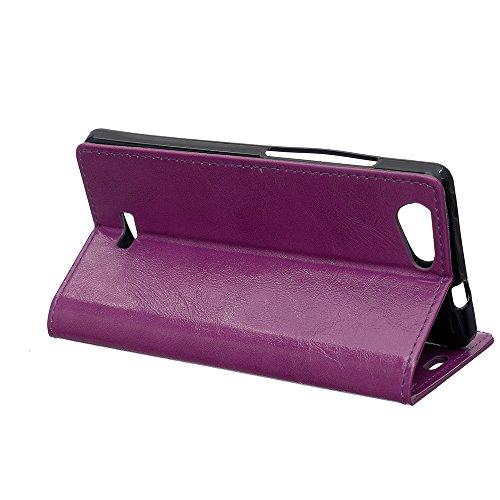 Lusee® PU Caso de cuero sintético Funda para Wiko Lenny 3 Max / Wiko Jerry Max Cubierta con funda de silicona botón caballo Loco patrón Rosa caballo Loco patrón púrpura