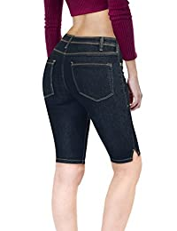 Hybrid & - Pantalones Cortos para Mujer, Ajustables, Vaqueros elásticos