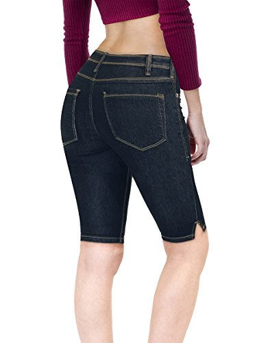 HyBrid & Company Women's Stretchy Denim Bermuda Short B22881 Black 15