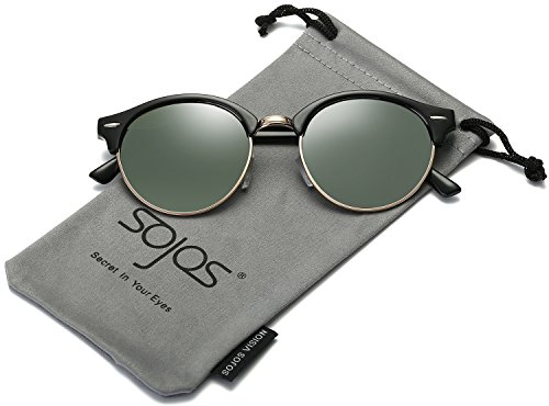 SojoS Classic Clubround Shades Semi-Rimless Unisex Sunglasses with Metal Rivets SJ2031 With Black Frame/G15 (No Prescription Color Contacts)