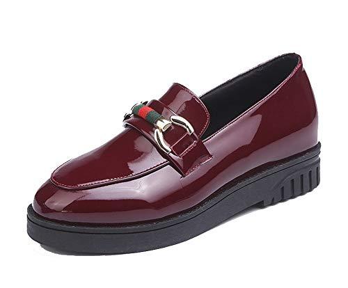 Sólido Zapatos Tacón Burdeos Mini De Tacón Pu Gmxda010740 Agoolar Mujeres Cordones Sin qtOxcZ6f