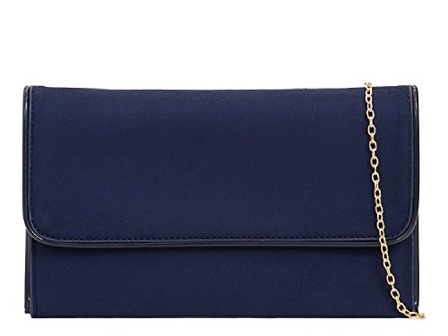 Navy Ladies Cocktail Bridal Clutch Purse KL2104 Suede Bag Party Faux Women's Handbag Formal qw47Xwr