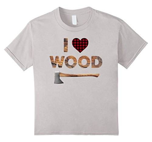 Lumberjack Costume Girl (Kids I Love Wood T-Shirt Lumberjack Heart Halloween Costume Tee 8 Silver)