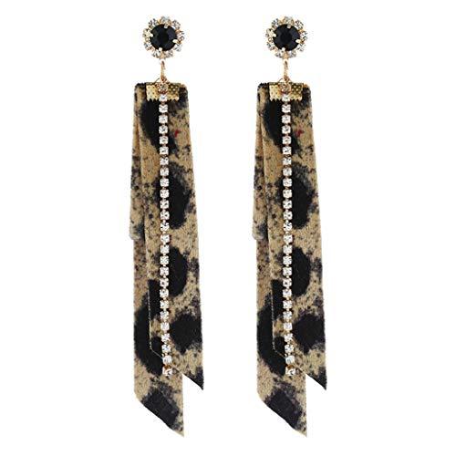 1KTon New Womens Fashion Fringed Leopard Fabric Long Wear Ear Temperament Sweet Style for Daily Wear C ()