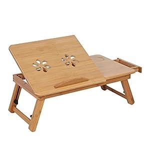 Beau Folding Computer Desk,Portable Wooden Laptop Desk Computer Stand Notebook  Table Bed Desk Tray Plus Adjustable Shelf Space
