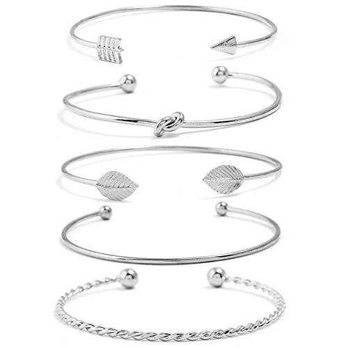 (I'S ISAACSONG Yellow Gold Plated Inspirational Love Knot Stackable Open Cuff Bangle Bracelet Set for Women and Girls (Love Knot, Leaf, Arrow 5 Pcs Silver Set))