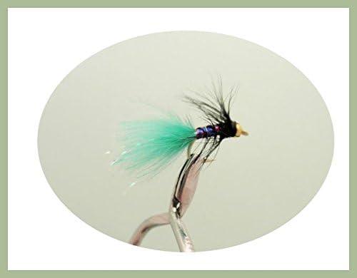 Lures Fishing Flies Size 12 Black//Green 12 pack of Goldhead Mini Dancer