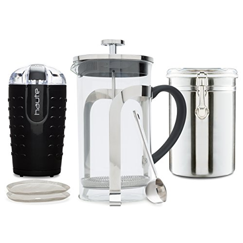 Haute Glass French Press with Coffee Grinder, Coffee Vault, Coffee Scoop, and 2 Replacement ...