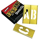 5 X 45 Piece Letter & Number Sets - 2'' 45pc letter & numberstencil set brass
