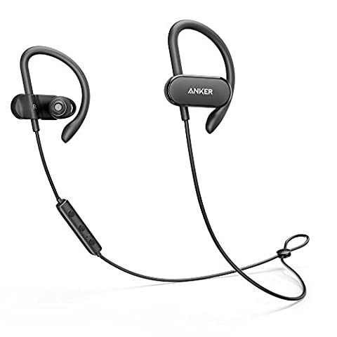 Anker SoundBuds Curve Wireless Headphones, Bluetooth 4.1 Sports Earphones with 12.5 Hour Battery, AptX Stereo Sound,Waterproof Nano Coating, Workout Headset with Built-In Mic and Carry (Bluetooth Headset With Ear Buds)