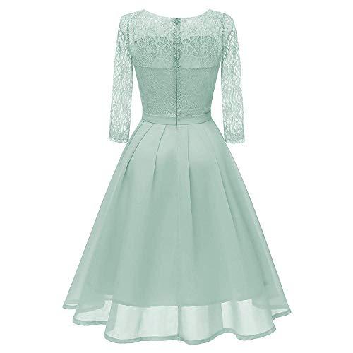 Women Long Sleeve Lace Dress Vintage Princess Floral Lace Cocktail O-Neck Party Aline Swing Dress
