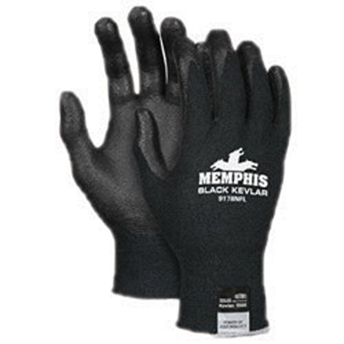 Memphis Gloves Large Black Kevlar(R) 13 Gauge Cut Resistant Black Nitrile Foam Dipped Palm And Fingertip Coated Work Gloves With Black Seamless Synthetic Knit Kevlar(R) Liner. Sold by 1 / PR by Memphis Gloves (Image #1)