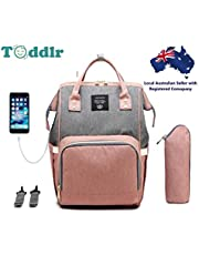Toddlr Shop Baby Diaper and Nappy Bag Backpack Multi Function Travel Nappy Bag Backpack Water Proof Baby Bag Insulated Pockets Large Capacity Phone Charging USB Port