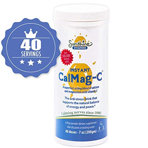 Sunshine Vitamins Instant Cal Mag C - Calcium, Magnesium and Vitamin C for Better Sleep and Less Stress - Feel Calm and Relaxed - Super Fast Absorption To Blood, Muscles & Bones