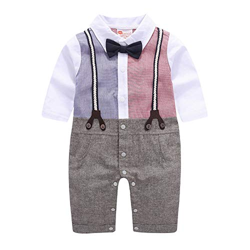 Baby Boy Gentleman White Shirt Strap Bowtie Tuxedo Onesie Jumpsuit Suit 70, Pink/Gray/Navy