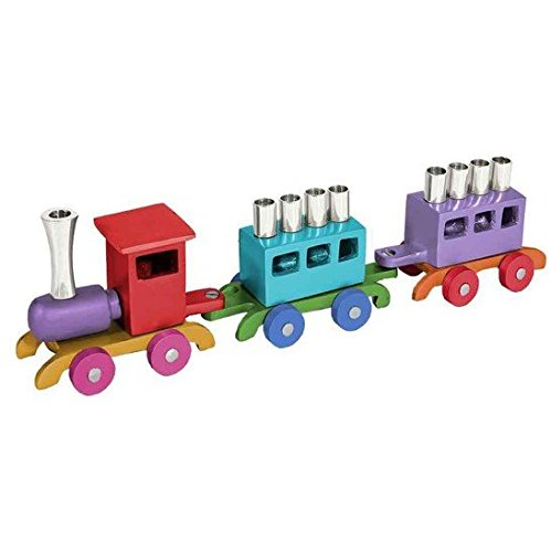 :Yair Emanuel Anodized Aluminium Metal Train Chanukkah Menorah (Multicolor) Hannuka (HMY-1)