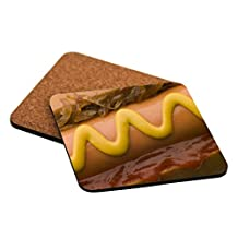 "Rikki Knight ""Hot Dog with Fried Onions Design"" Square Beer Coasters"