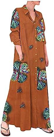 Maxi Dress for Women Casual Loose Button Down Shirt Dress Cotton Linen Boho Print Wing Beach Sundress with Poc