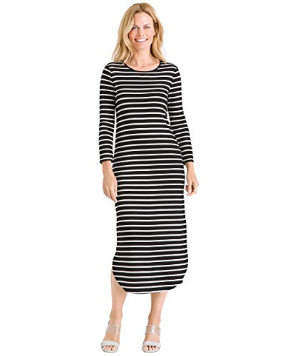Chico's Women's Striped Shirttail-Hem Dress Size 0/2 XS (00) Black/White