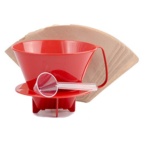 Pour Over Coffee Dripper + 5 Cone Coffee Filters, Coffee Scoop (BPA Free Plastic, Red, #4) (Unbleached Small Coffee Filters compare prices)