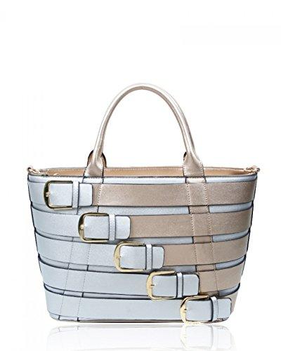 Belt Women's Handbags Gold Style CW160477 Faux Silver LeahWard Shoulder Tote Large Celeb Leather Bags qE5cxRw