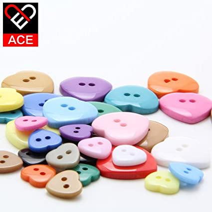 bargain house 100pcs Heart Shaped Multicolor 2 Holes Resin Sewing Buttons for Sewing Scrapbooking Knitting