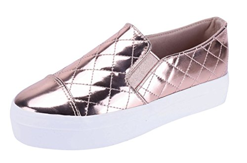 - Cambridge Select Women's Closed Round Cap Toe Quilted Stretch Slip-On Flatform Fashion Sneaker (8 B(M) US, Rose Gold)